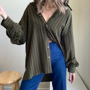Silky Striped Button Up Tunic Blouse